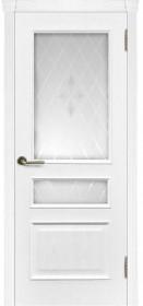 Дверь Милан ясень жемчуг со стеклом